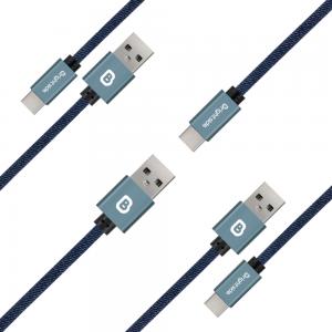 Cable de carga  MicroUSB trenzado a mano en JEAN 2.2A Carga Rápida /BSC-J100M MICRO USB